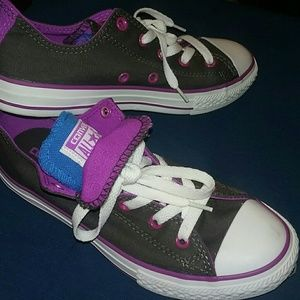 Gray Converse Blue/Purple Tongue Sneakers
